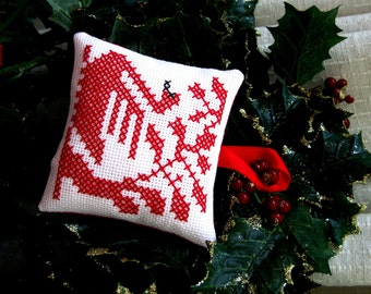 Swan Christmas Ornament Red Work Hand Stitched Holiday Decoration