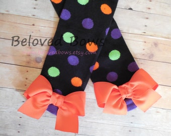 Halloween Polka dot Leg Warmers with Orange Bows for Baby or Toddler