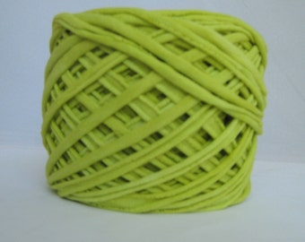 T Shirt Yarn Hand Dyed-Chartreuse Green, Yellow Green Yarn, Green T Shirt Yarn, Jersey Yarn, Cotton Yarn, 60 Yards