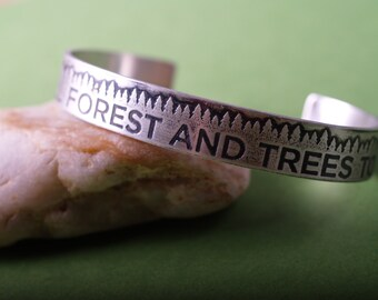 Zen message Forest Sterling Etched cuff