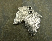 Paisley Leaf - Vintage Style Sterling Silver Leaf Charms - One Pair - cpl