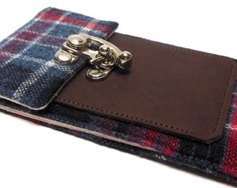 iPhone 6 / 7 / 7 Plus wallet  - navy and red plaid wool