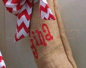 1 Personalized CHRISTMAS STOCKING in Chevron (One Red Bow Burlap Stocking free shipping USA only