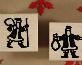 BLOCK PRINT SANTA Rubber Stamp~Christmas and Holiday diy Crafting~two style choices~wood mountedstamp(24-41bag)(24-42stick)