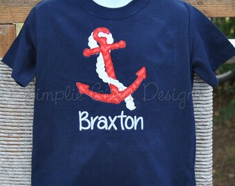 Personalized anchor shirt with 3D rope. Boys or Girls. Other colors available.