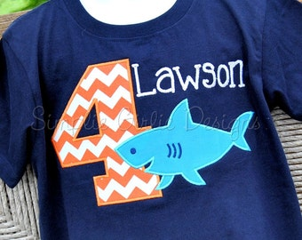 Custom shark birthday shirt. Personalized. Sizes 12m to youth large.