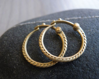 Small Gold Unisex Every Day Hoops Earrings, Greek Style, Classic Design, Braided Hoops