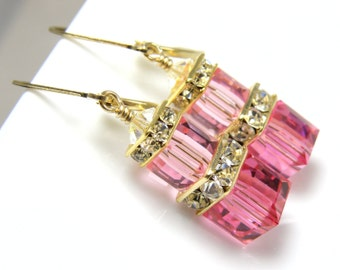 Rose Pink Earrings, Rose Swarovski Crystal Cube, Pink Bridesmaid Earrings, Bridal Party Wedding Handmade Jewelry Gold Filled, Stacked Cube