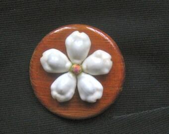 40s SOUVENIER Brooch SWEETHEART 1940s Wooden With Seashells HAWAIIAN