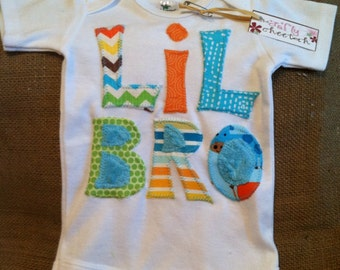 Lil BRO appliquéd one piece bodysuit, little brother applique, little brother outfit, boy baby outfit