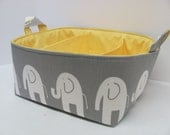 Fabric Diaper Caddy - Storage Container Basket - Organizer Bin - Tote Bag - Bucket - Baby Gift - Nursery - Grey/White Elephants