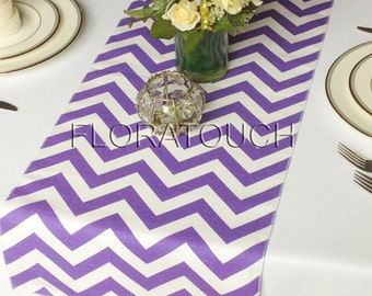 Purple and White Chevron Zigzag Wedding Table Runner
