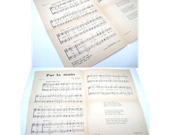 Par La Main Vintage French Sheet Music Lyrics Aime Duval 1957  Music.  Guitarist. France. Singer. Religion. Musical Score. Song. Jesuit
