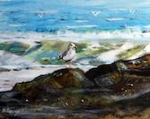 All Alone  :Long Beach Island, NJ 5 x 7  watercolor