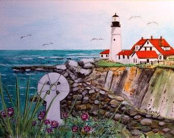 Celtic Maine -Original  8.5 x 11 watercolor painting.SIGNED PRINTS 8X10-25.00,11x14-30.00,13 X 19- 35.00. Message me to list them..