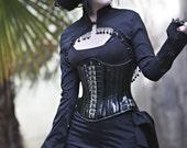 Long sleeved black taffeta victorian shrug
