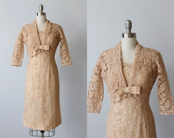 Vintage 1960s Dress / 60s Lace Dress / Nude Lace Dress / Dress and Bolero Jacket / Antique Cameo