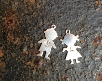 Sterling Silver Boy Girl Charms Stamping Blanks Initial Charms Children Two CHARMS