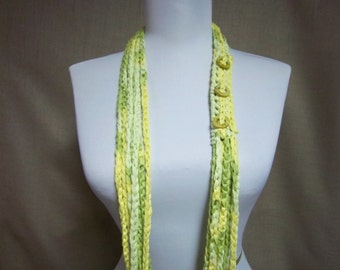 Circle of Chains Scarf in Lime Green and Lemon Yellow Cotton Blend with Shell Circles - Ready To Ship