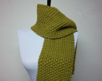 Men's or Unisex Scarf in Moss Green - Ready To Ship Olive Green Muffler Short Scarf Woman's Scarf