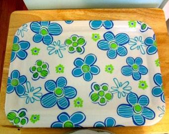 Vintage Aqua and Green Floral Plastic Tray
