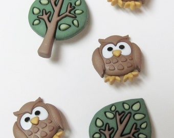 Night Owl and Tree  Buttons Set of 5