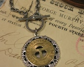 Transit Token Jewelry - Genuine Tucson Transit System Token Medallion Toggle Clasp Necklace - Initial T