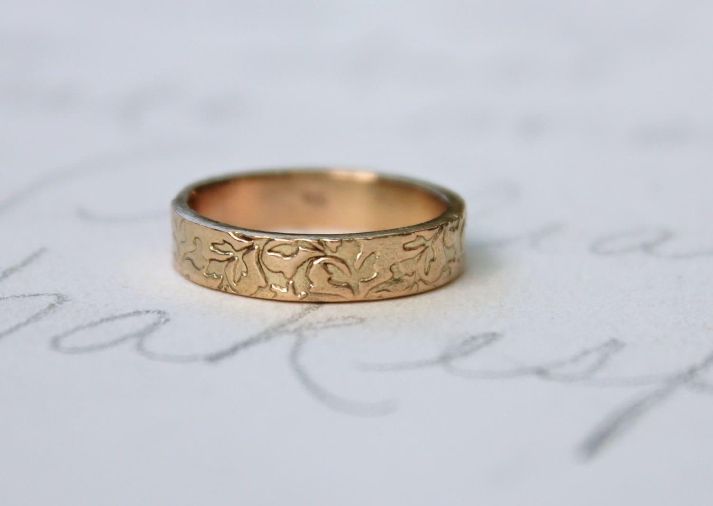 Rose Gold Wedding Ring Band Mens Womens By Peacesofindigo