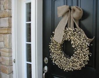 Cream Wreaths - New Years Berry Wreaths - Berry Wreath - Spring Wreaths - Neutral Colored Wreath