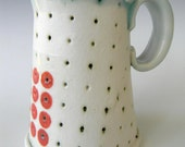 Tall Hand Built Porcelain Mug With Red Polka dots- FREE U.S. SHIPPING