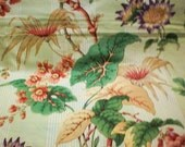 Schumacher Fabric 2.5 Yardage Upholstery Drapery Cloth Remnant Tropical Print Cotton Pillow Top Discontinued Sanibel Coral Vine Green Peach