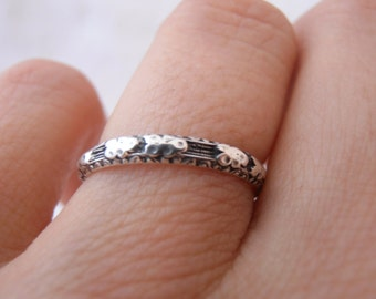 "Custom Recreation Flower Oxidized Sterling Silver Engraved ""Sophia"" Wedding Band- by Chasing Jewelry Made to Order"