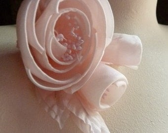 Silk Millinery Rose with Buds in Pink for Bridal, Sashes, Hats MF 136