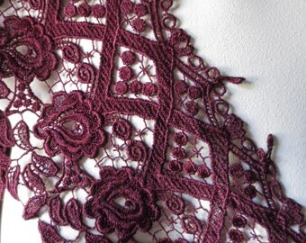 Venise Lace Trim in Burgundy for Bridal, Jewelry, Couture, Costumes CL 6053burg