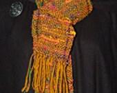 Women's Scarf. Handwoven Sari Silk & Uruguayan Gold Wool.
