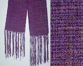 Women's Scarf, Handwoven, Silk & Chenille Purple