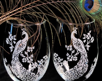 2 Stemless Peacock Wine Glasses, Etched Glass Peacock Wedding Reception Decoration
