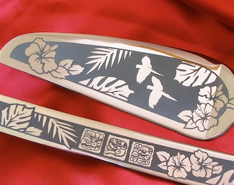 Tropical Wedding Cake Server and Knife Set, Hibiscus Wedding Decor with Birds