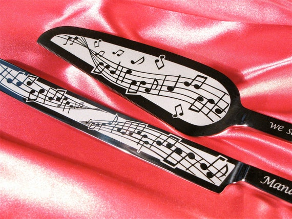 Music Themed Wedding Cake Server and Knife Set, Engraved Gift for Bride and Groom, Present for Couple