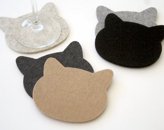 Cat Coasters Cat Lover Gift for Pet Lover 5mm Wool Felt Crazy Cat Lady Fun Cute Drink Coaster Set Eco-Friendly Hostess Housewarming Gift
