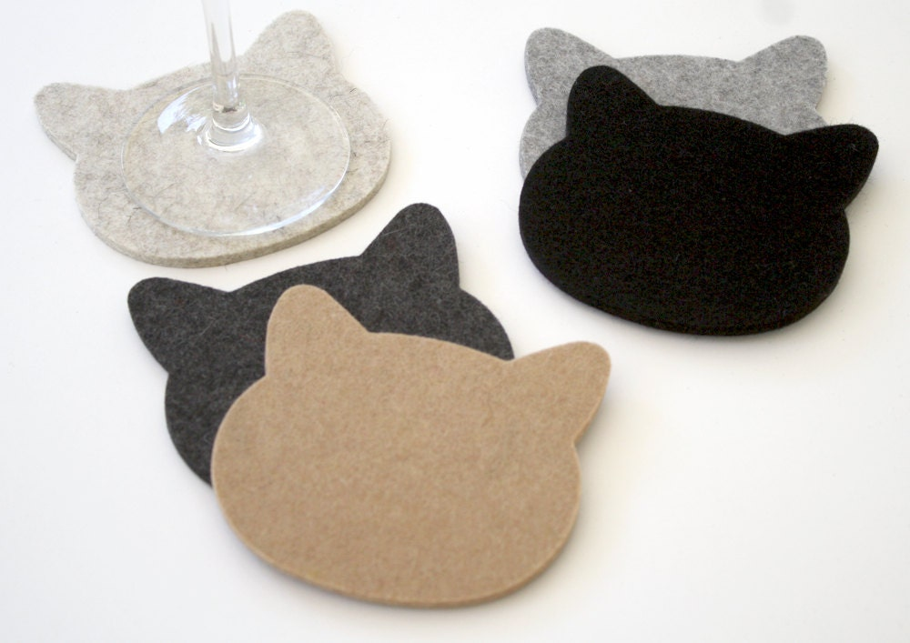 Cat Coasters Cat Lover Gift For Pet Lover 5mm Wool Felt Crazy
