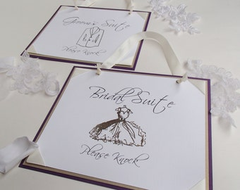 Bridal Suite Sign and Groom's Suite -Customize your colors-Please Knock- Embossed with crystals-Ribbon Corners-Knotted Wide Ribbon to hang