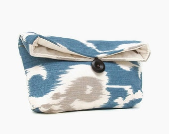 Blue Ikat Clutch Purse, Ikat Makeup Bag, Ikat Foldover Clutch, Womens Clutch Purse, Bridesmaid Clutch, Ikat Bridesmaid Gift