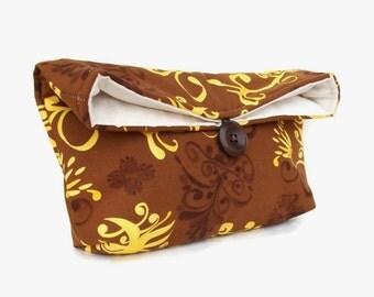 Brown Clutch, Gold Clutch, Floral Clutch, Brown Floral Clutch, Gold Floral Clutch, Yellow Clutch, Womens Clutch Purse, Bridesmaid Gift