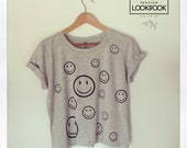 SMILEY - sPECKLED rOLLED uP - sLEEVE T-SHIRT