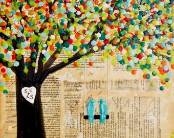LOVEBIRDS Personalized Art Print Mixed Media Collage Encaustic - Wedding Gift  - Personalized with Couple's Initials Carved in Tree Trunk