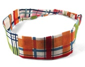 "Fabric Headband - Madras Plaid - Pick your size - fit toddlers to adults - 1-1/2"" wide"