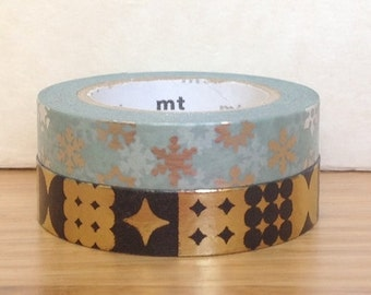 SALE ITEM - limited special edition - mt washi masking tape - set of 2 - snow crystals / black and gold pattern