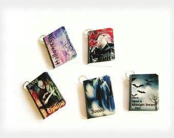 Set of 5 Halloween Spooky Creepy Miniature Book Charms Ghosts