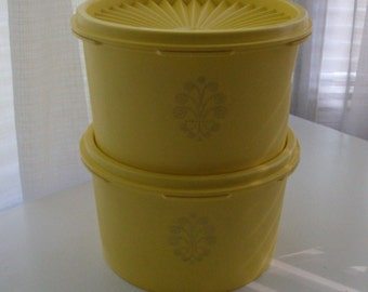 Small 2 Piece Stacking Daffodil Canister Set by Tupperware